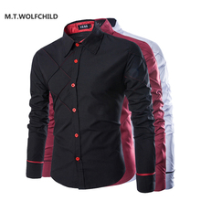 M T WOLFCHILD Hot sale 2017 New style mens solid color lapel shirts Business casual men