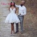 2017 Белый Короткий Свадебные Платья A-Line Милая С Плеча До Колен Атласная с Аппликацией Платья Женщины Свадебные