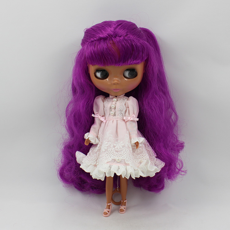 Blyth doll nude bjd 1/6 body doll Black muscle doll purple long hair with bangs modified DIY bjd dolls for sale ювелирное изделие 01p625180