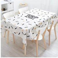 Black gold geometric tablecloth cotton linen plants printed coffee table cloth dust proof mat indoor
