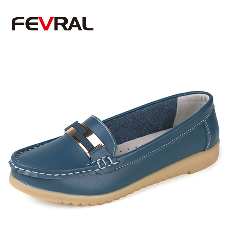 FEVRAL Fashion Casual Woman 2018 Genuine Leather Woman Shoes Flats 4 Solid Colors Loafers Slip On Womans Flat Shoes Moccasins casual flat shoes woman 2018 spring solid loafers slip on flats fashion round toe women shoes 3 colors size 35 40 f039