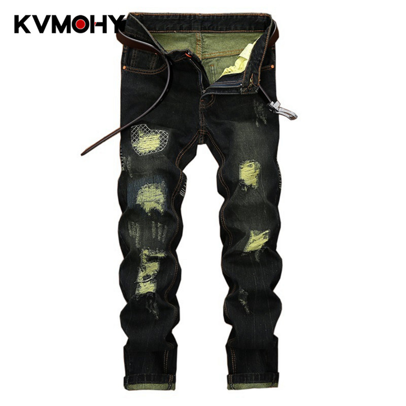 Ripped Jeans Men Hiphop Fashion Casual Hole Patch Jeans Male Pants Denim Trousers Tide Brand Distressed Jean Hombre Clothes