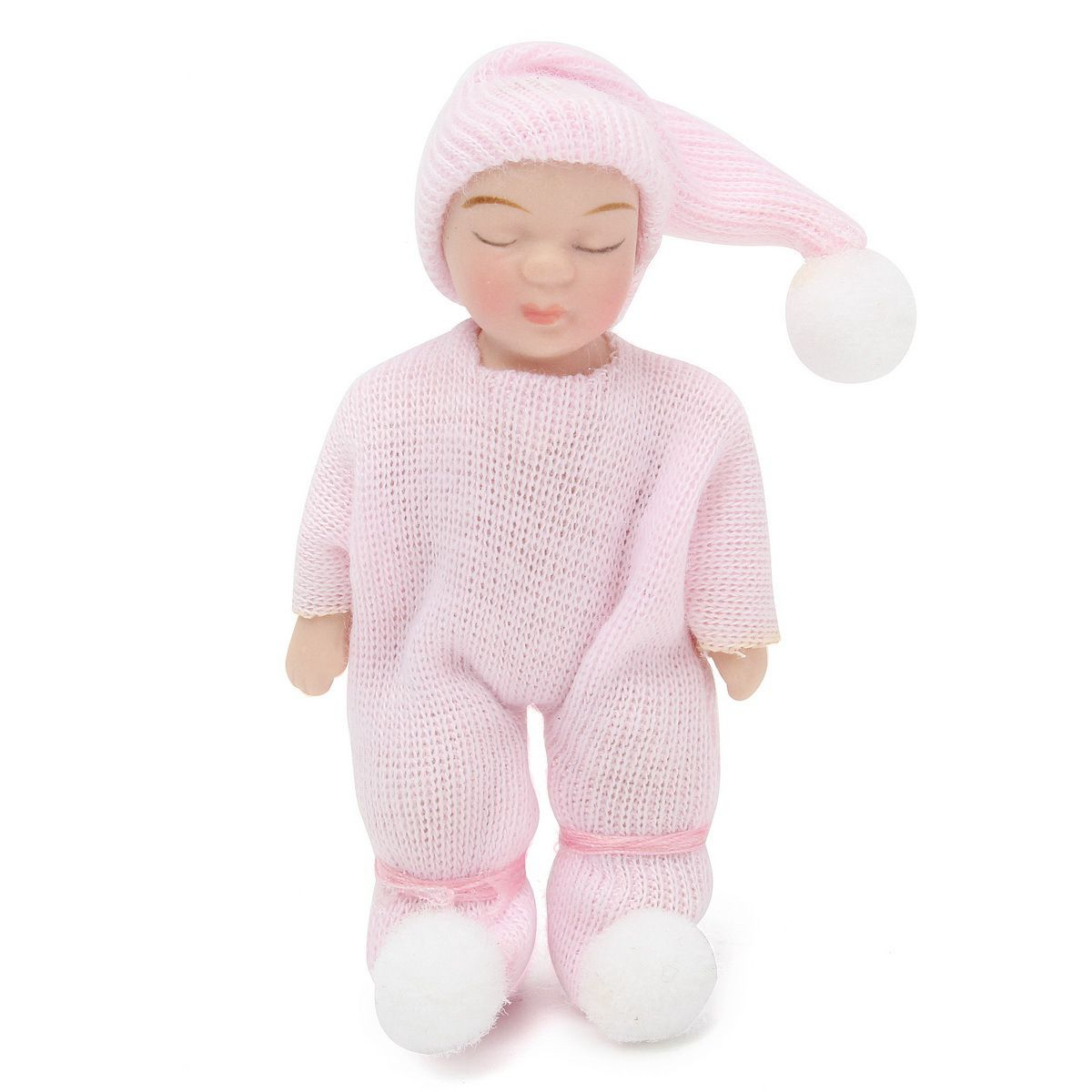 HOT SALE 1: 12 Scale DollHouse Miniature People Figures Porcelain Dolls Sleeping Baby Gift