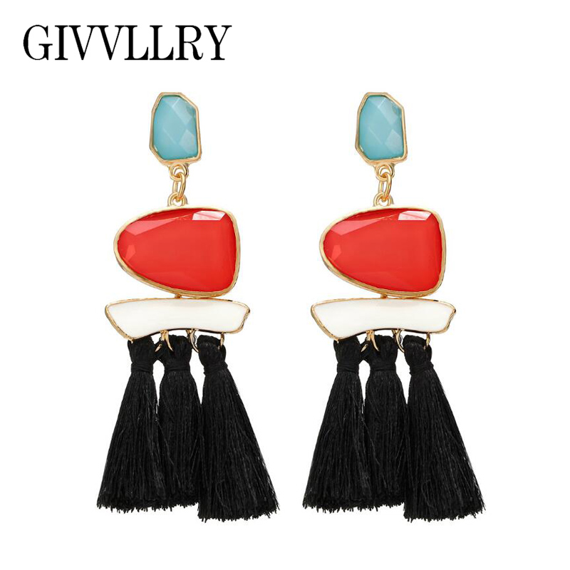 jewelry orange multicolored tassel collections products fan earrings o a