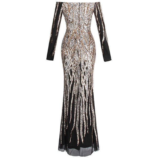 Angel-fashions Women's Off Shoulder Long Sleeve Evening Dresses Twinkling Sequin Gold Party Gown 404