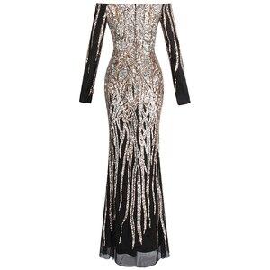 Image 2 - Женское вечернее платье с блестками Angel fashions, золотистое платье с открытыми плечами, длинными рукавами, Модель 404 456