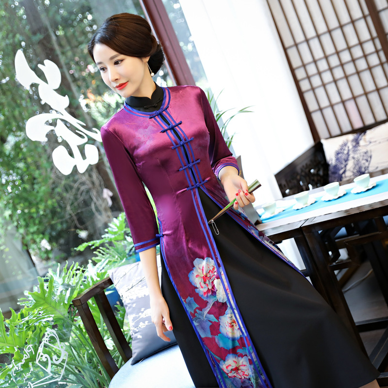 High Quality Chinese Women Vintage Long Slim Silk Cheongsam Qipao Summer Elegant Slim Dress Flowers Size M L XL XXL XXXL 4XL женское платье wm 2015 m l xl xxl xxxl 4xl 5xl 6xl r wyd005