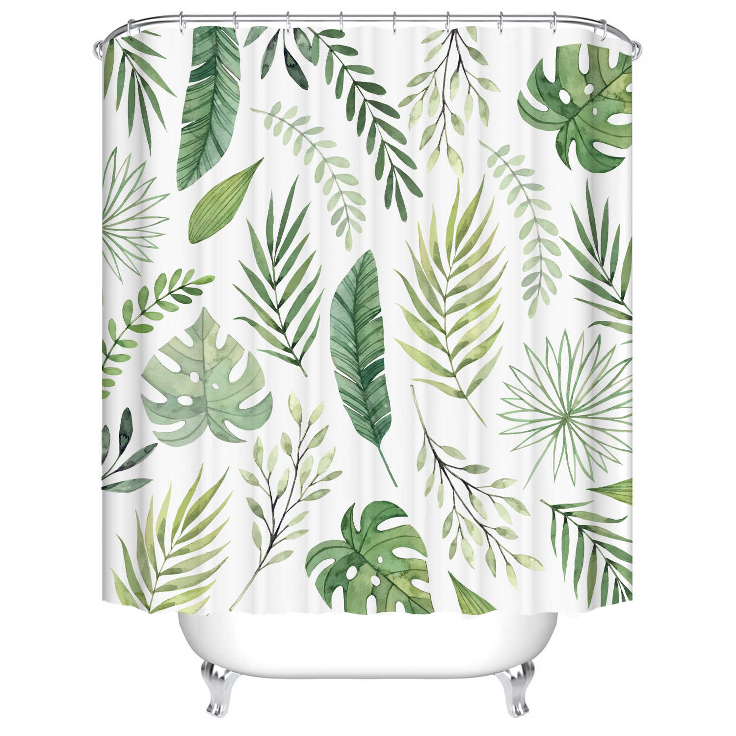 African Shower Curtains Sets Tropical Green Plant Palm Leaf Monstera Bathroom Shower Curtain Frabic Waterproof Bath Curtain