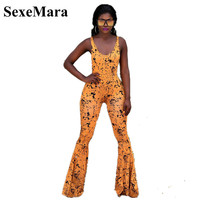 SexeMara Sexy Print Deep V Neck Backless Bodycon Jumpsuit Plus Size Summer Romper Women Overalls Flare