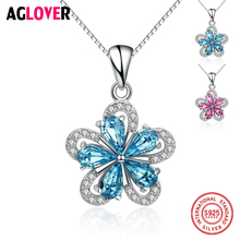 AGLOVER Lady Authentic 925 Sterling Silver Necklace Austria AAA CZ Cubic Starfish Zircon Pendant Brand Fine Jewelry For Women necklace ska brand silver 925 sterling chokers necklaces for women olive leaf aaa zircon fashion fine jewelry ac4034ox