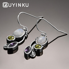 GUYINKU 100% Solid 925 Sterling Silver Moonstone Dangle Drop Earrings Fine Jewelry For Women Anniversary Party Gifts
