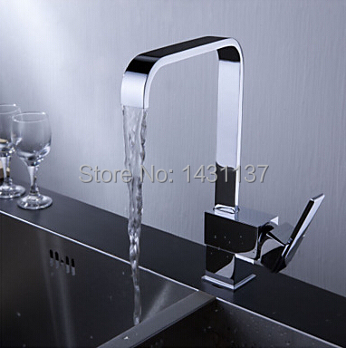Free Shipping Brand New High Quality Brass Material Square Single Lever Kitchen Faucet