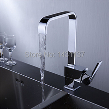 high quality brand new chrome brass material square single lever hot and cold kitchen sink faucet