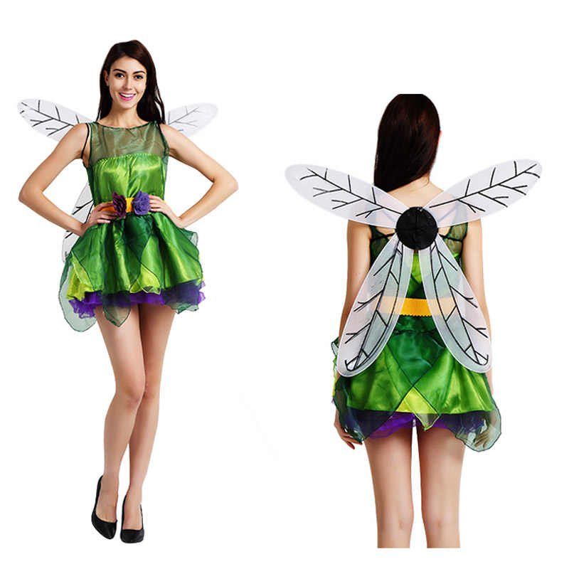 99c85784426 adult green flower fairy tinker bell Elf dress costume wing set halloween  costume party dress and wing set