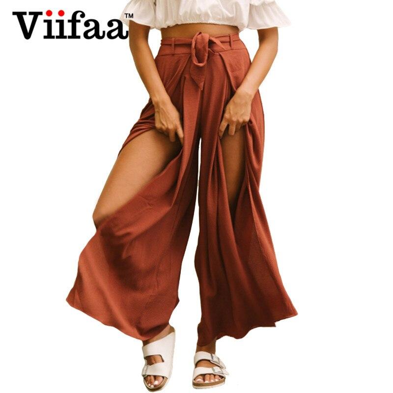 Viifaa 2018 Women Boho Casual Wide Leg Pants Pantalon Femme High Waist Summer Trousers Loose Split Pants