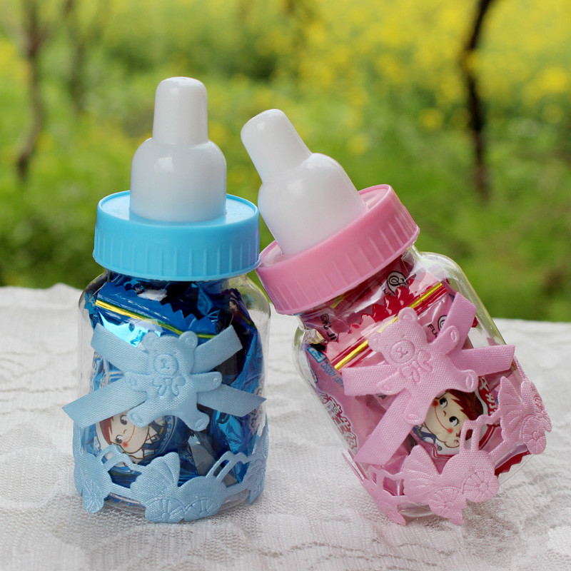 Free Shipping 12pcs Baby Shower Game Baptism Christening Favours Candy Bottle Storage Box Gift Baby Feeding Bottle Candy Boxes