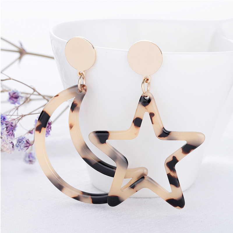 2019 Big Stars and Moon Acrylic Earrings for Women Bohemian Acetic Acid Plate Long Drop Earring Fashion Ear Jewelry Wholesale in Drop Earrings from Jewelry Accessories