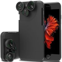 External Case For IPhone 6 6s 7 8 Plus 4 In 1 Wide Angle Camera Lens