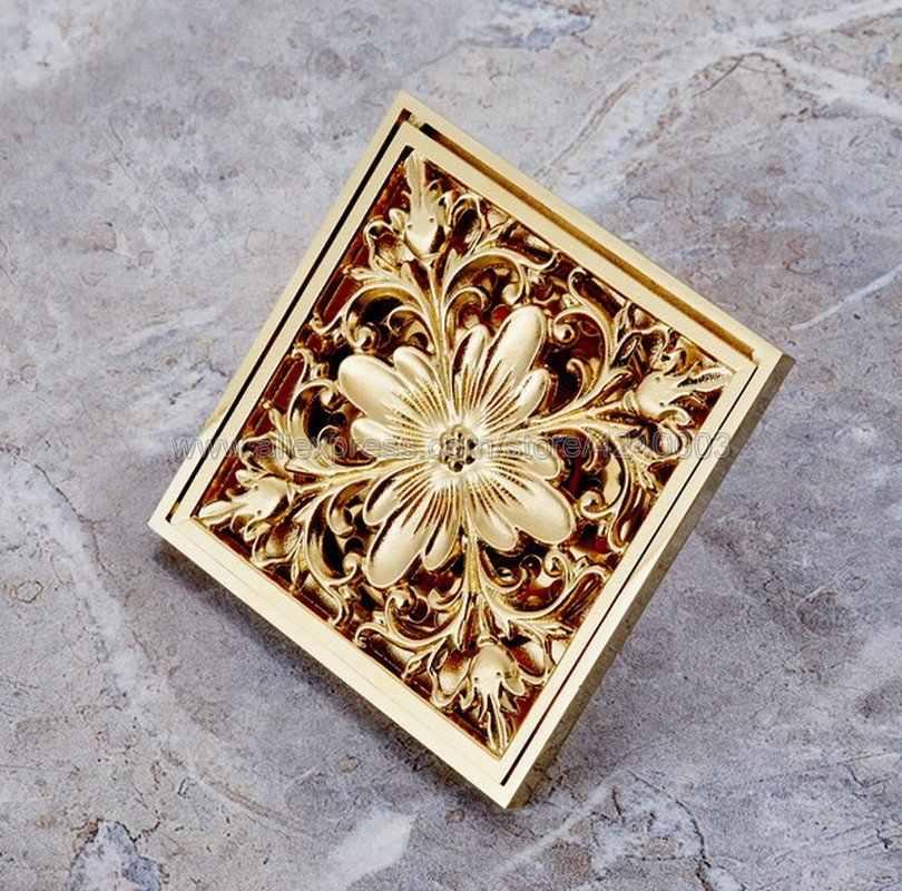 Warna mewah Emas Kuningan Lantai Saluran 10*10 cm Persegi Art Bunga Diukir Kamar Mandi Lantai Drain Limbah Grate Menguras Khr027