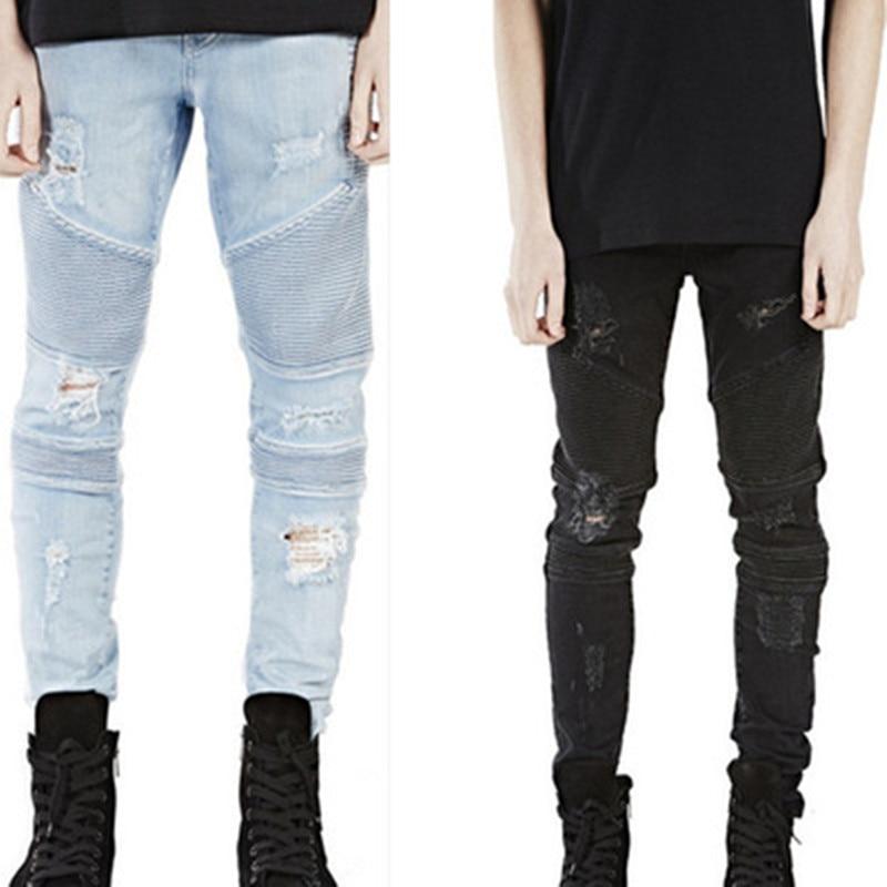 5eee82d2b70 Black Skinny Jeans Mens Pants Men Denim Biker Jeans Slim Straight Elastic  Destroyed Ripped Jeans Trousers-in Jeans from Men s Clothing on  Aliexpress.com ...