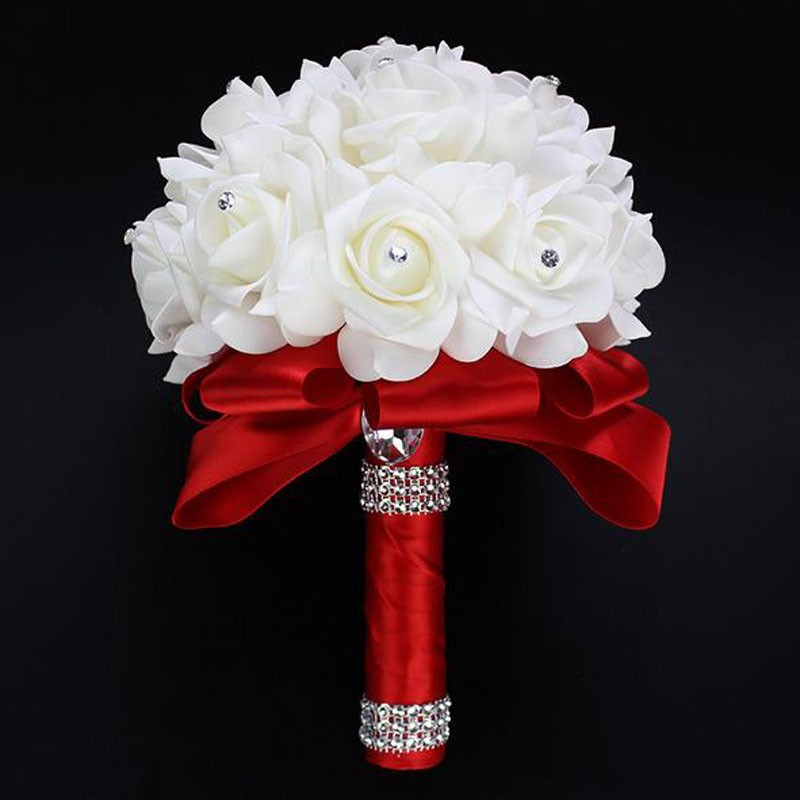 Wedding Flowers Online.Us 3 71 7 Off Perfectlifeoh Beautiful White Ivory Bridal Bridesmaid Flower Wedding Bouquet Artificial Flower Rose Bouquet Crystal Bridal Bouqu In
