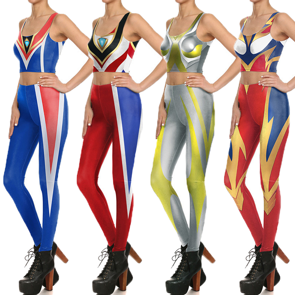Cosplay Ultraman Dame Gym Yoga Indstiller Superhero Ultraman-7692