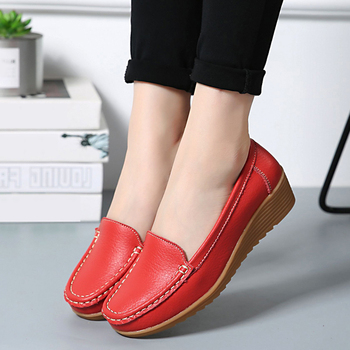 2019 Autumn Women Genuine Leather Shoes Women Slip On Loafers Flats Shoes Women Flats Ballet Casual Flat Shoes Female Moccasins 1