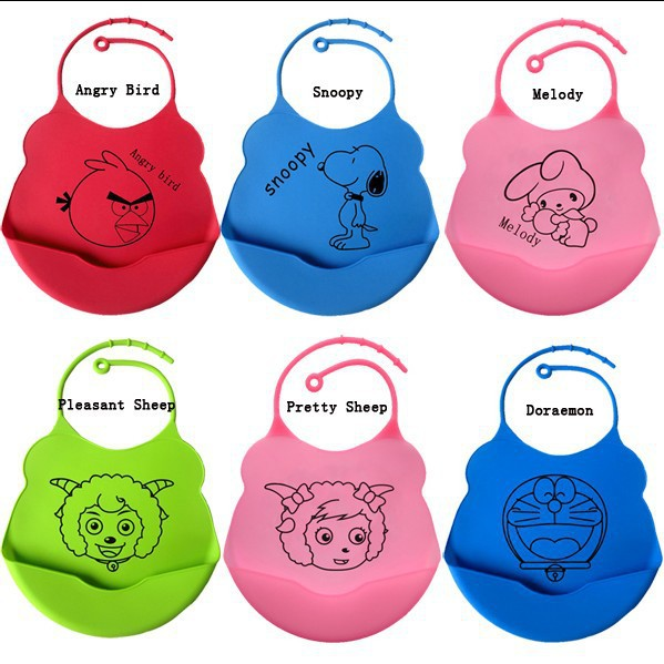 Hersteller verkaufen Handtuch Lätzchen Junge / Mädchen Schürze Tasche Slobber Säuglingsbaby Essen Kleidung Silikagel wasserdicht