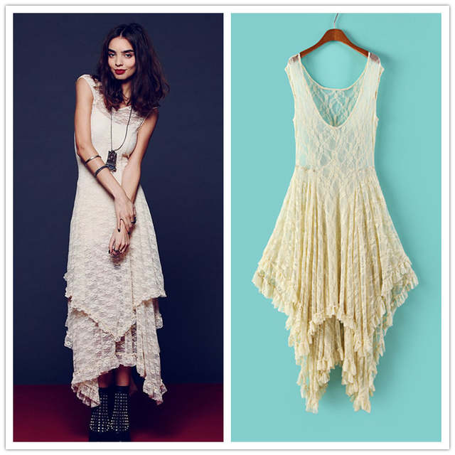 29bb5ed7eae placeholder Irregular Lace Dress Boho Hippie Style Asymmetrical Embroidery  Sheer Long Dresses Double Layered Ruffled Trimming Low