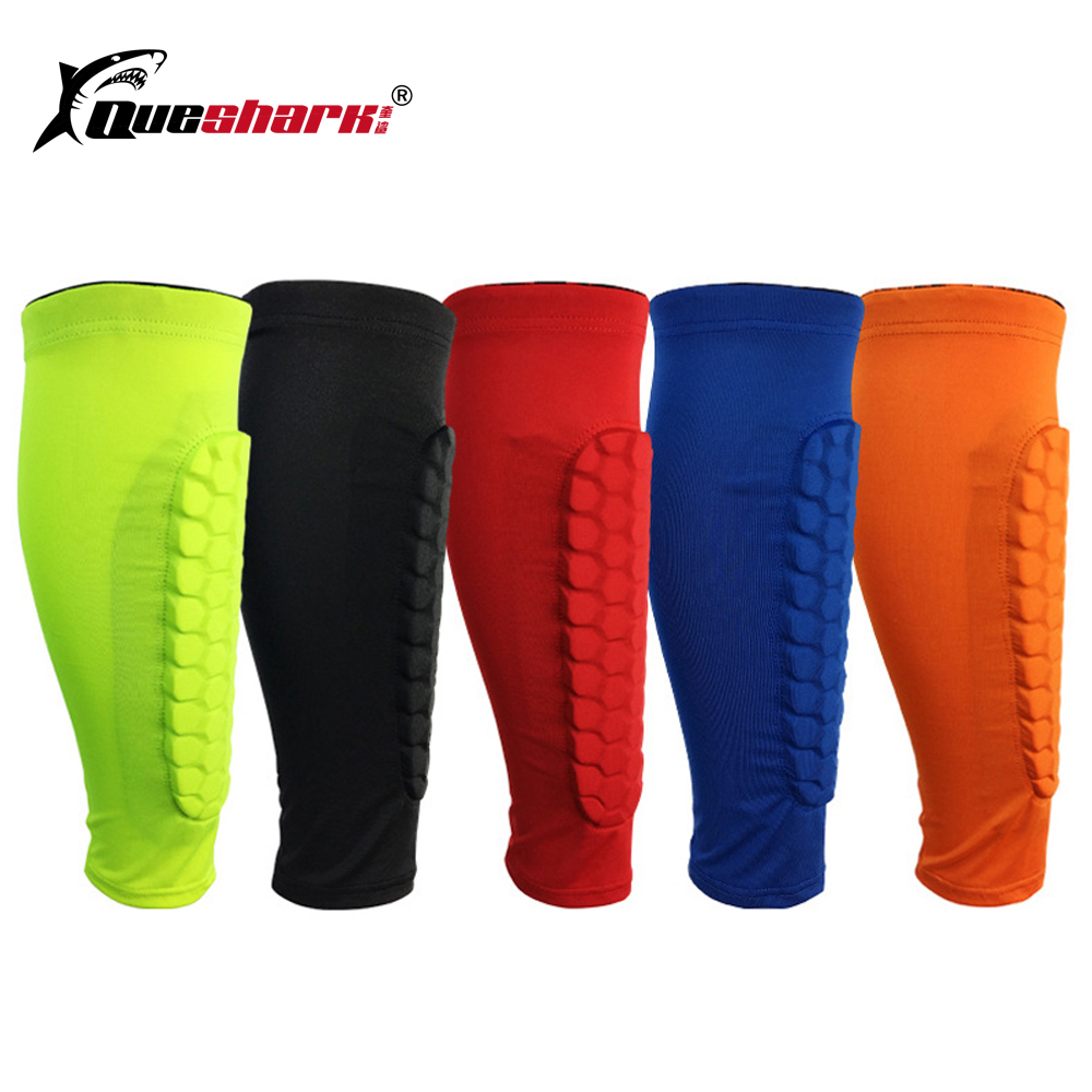1Pc Football Shin Guards Protector Soccer Honeycomb Compression Anti-crash Leg Calf Sleeves Cycling Running Knee Pads Leg Warmer ...