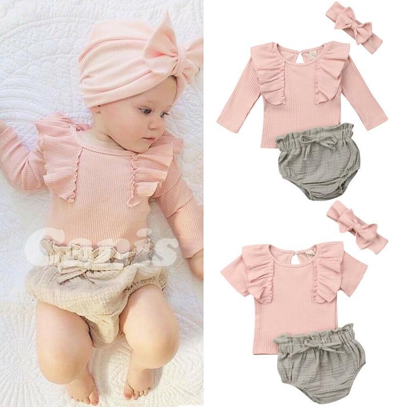 Summer Short Sleeve Pink Ruffles Tops Bottom Headband Girl Clothing Cotton Outfits 3PCs Newborn Baby Girls Clothes Set
