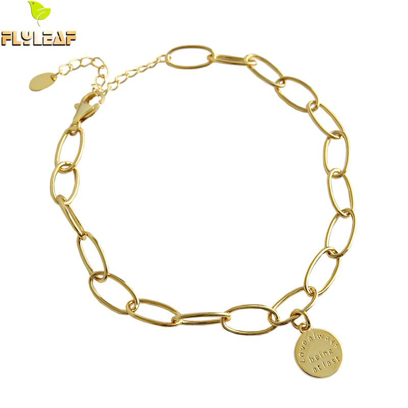 Flyleaf Gold Geometric Chain Letter Round Tag 925 Sterling Silver Anklets For Women cute Girl Ankle Leg Fine Jewelry Enkelbandje