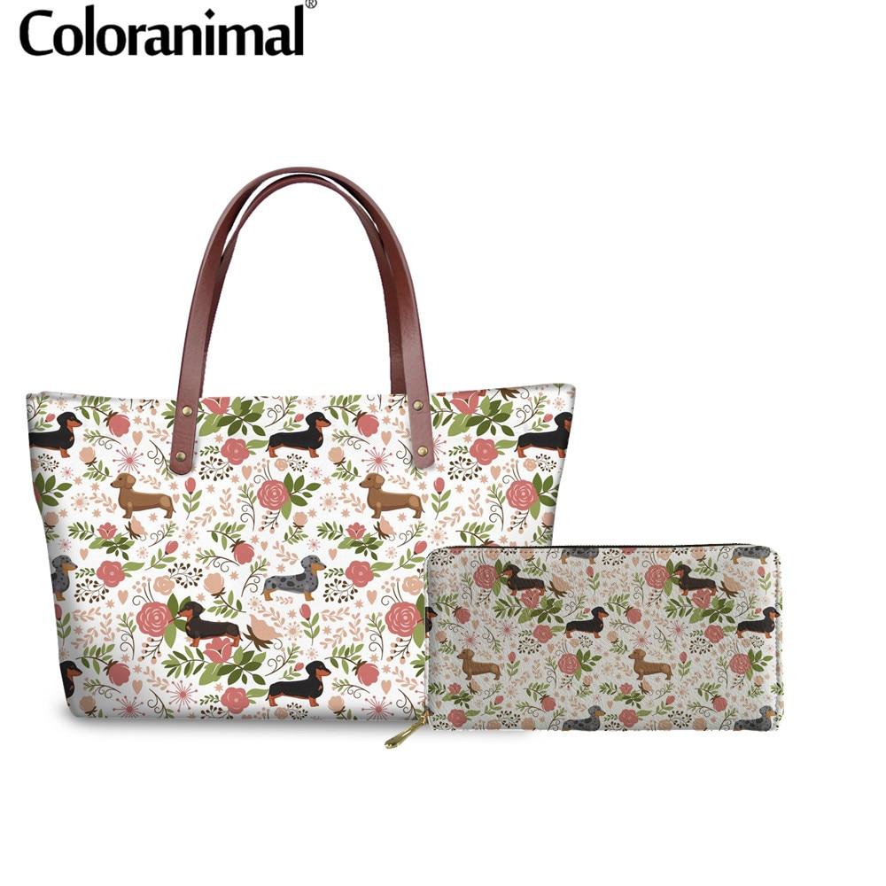 Bolso de mano para mujer Coloranimal, bolso con asa superior para perro salchicha, estampado Floral, bolso Casual para mujer, Cartera de cuero, conjunto de 2 uds, bolso de hombro