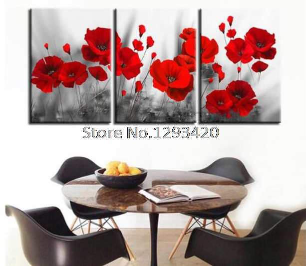 diy Diamond Painting Cross Stitch poppy flower 3pcs Diamond Embroidery Picture Of Home Decor 5D diy Diamond Mosaic Painting