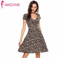 ANGVNS Women V Neck Cap Sleeve Floral Print Fit And Flare Casual Dress Robe De Femme