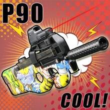 Électrique de lancement Continu Pistolet À Air Personnaliser Graffiti Jouet Pistolet P90 La Plus Cool Enfant Cadeau Airsoft Pistolets À Air En Plein Air Fun Sport