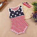 2017 new baby girl 4th of july outfits sets newborn baby girl summer rompers july 4th baby girl red blue American Flag rompers