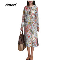 Spring Autumn Style Cotton Linen Vintage Print Plus Size Women Casual Loose Long Dress Party Vestidos