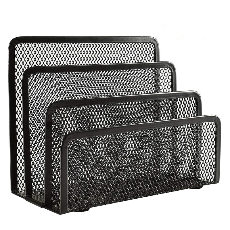 Desk Mail Organizer, 2 Pack Office Small Letter Sorter Desktop File Organizer Metal Mesh With 3 Vertical Upright Compartments