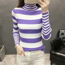 2018 New Women Knitted Turtleneck Full Sleeve stripe Sweaters Pullovers Female Knitting Stripes Tops Girls