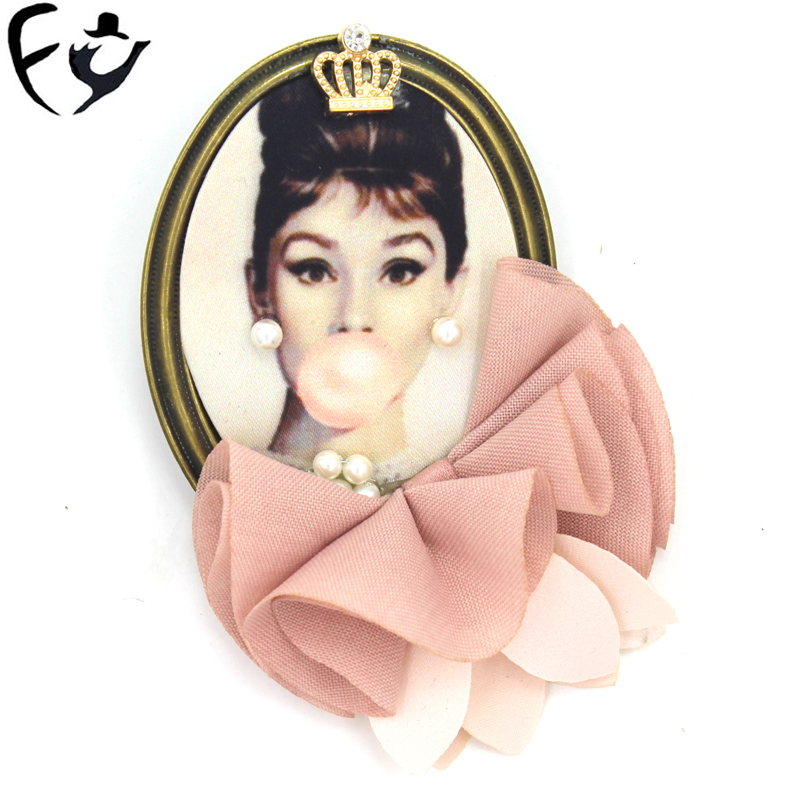 FY Heat sale brooch vintage beauty picture cloth art lace brooch accessory female.