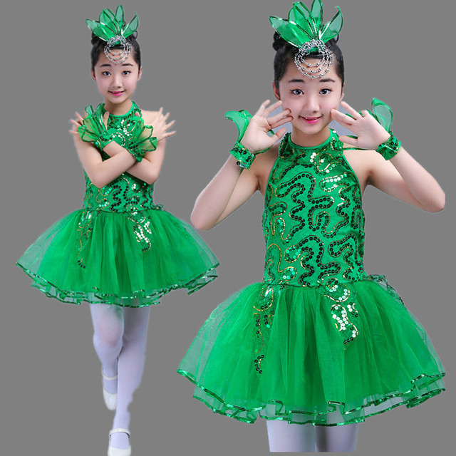 c1ac700bc3 Children Latin Grass Performance Clothing Green Puffy Princess Dress Girls  Jasmine Chorus Suit Modern Dance Ballet Dress