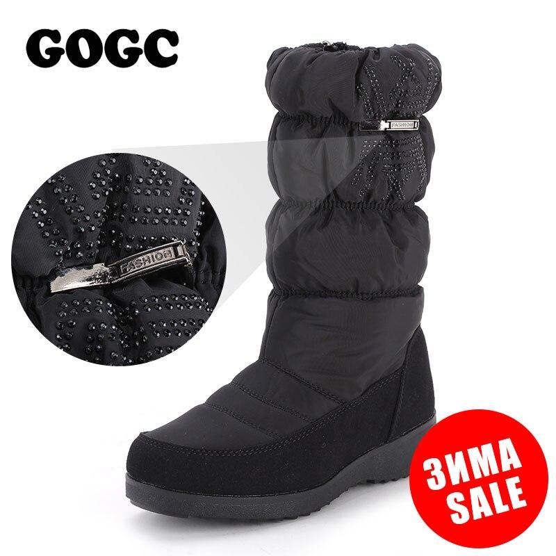 GOGC/Новинка 2018 года, женские зимние сапоги со стразами высокого качества, женские непромокаемые зимние сапоги на нескользящей подошве