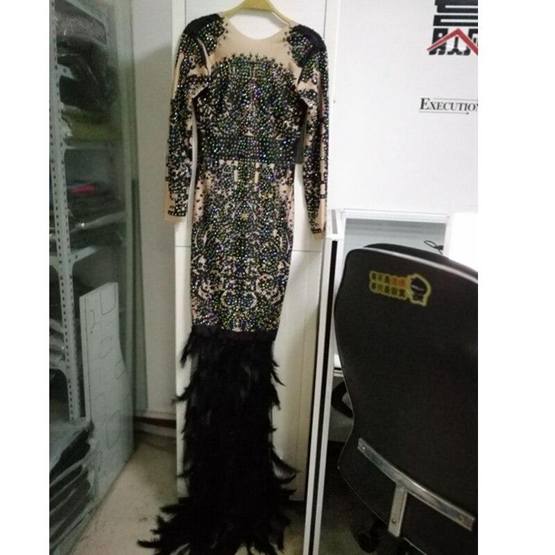 새로운 도착 우아한 저녁 연예인 파티 긴 인어 깃털 블랙 베이지 비즈 패션 드레스 화이트 2019 섹시한 clubwear-에서드레스부터 여성 의류 의  그룹 3