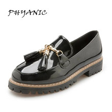 PHYANIC 2017 Flats British Oxford Shoes for Women Leather Brogues Women Oxfords with Tassels Platform Fringe Flats Shoes PHY6142