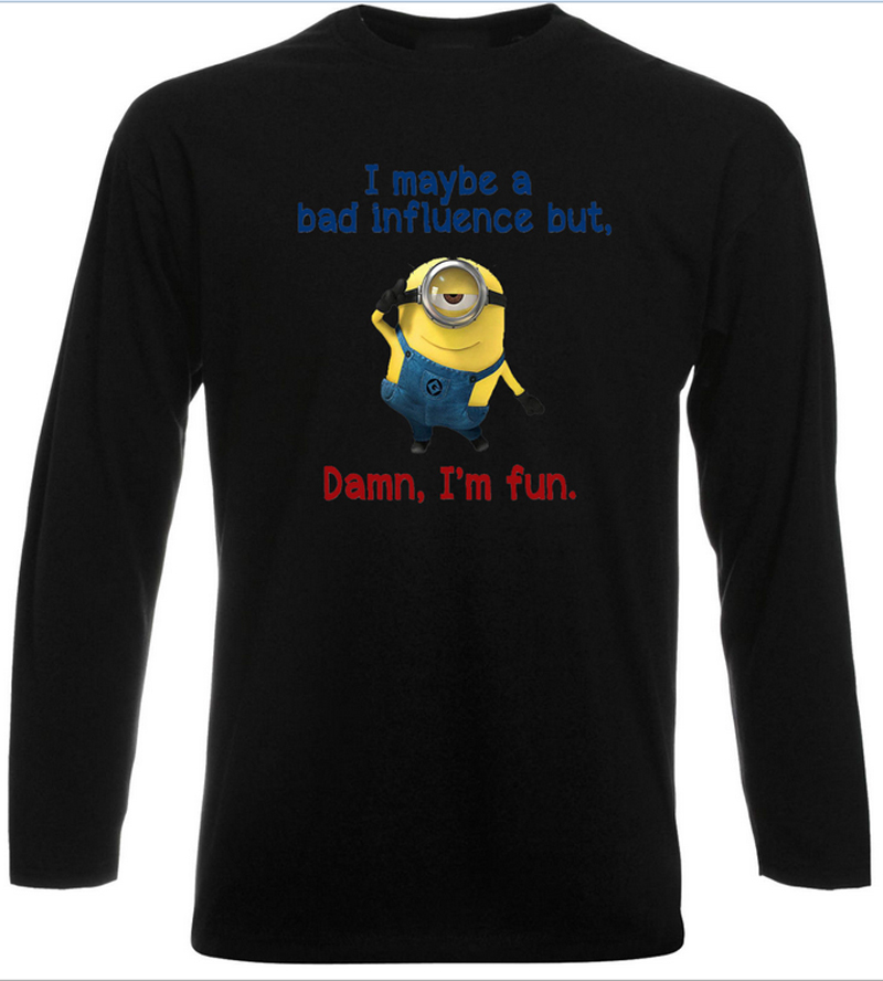 Minion Bad Influence Long Sleeve T-Shirt Funny Men Womens Long Sleeve Black Top Design Tee Shirt Gift Shirt for Christmas