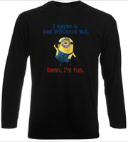 Minion Bad Influence Long Sleeve T Shirt Cool Despicable Me Men Ladies Long Sleeve Black Top