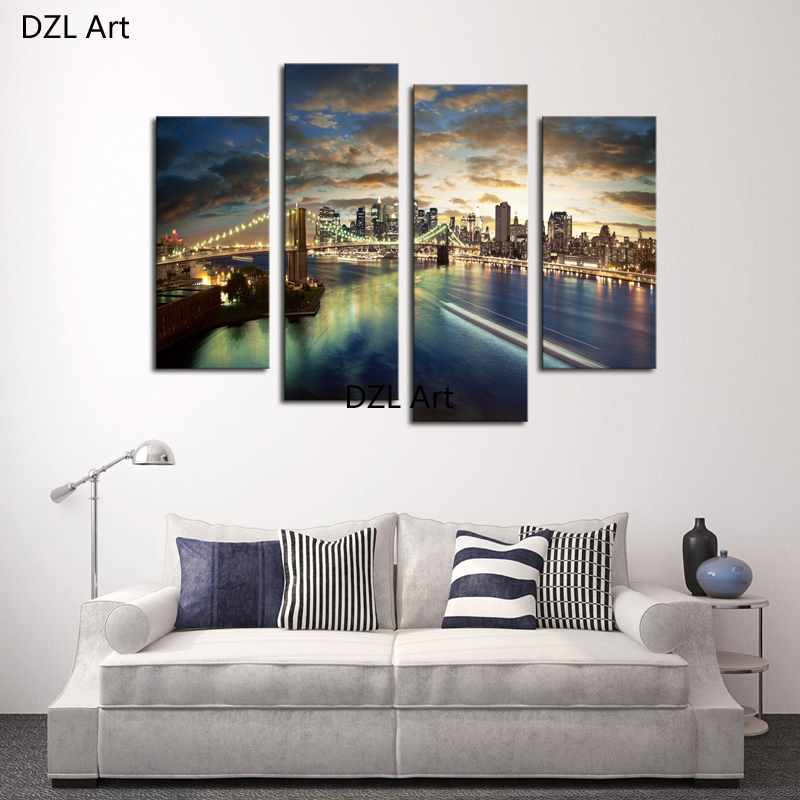 4 Pcs(No Frame)Tall Bridge Painting Canvas Wall Art Picture Home Decoration Wall Pictures For Bedroom,Printing on Canvas