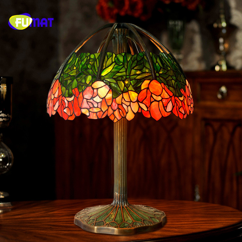 FUMAT Tiffany Flower Stained Glass Vintage American Living room Study Bedroom bedside Warm Table Lamp