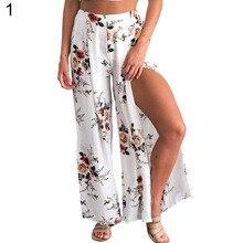 ffed85c91fd0 Summer Female elegant beach Culottes Palazzo maxi skirt High Waist Floral  Print Wide Leg Loose Pants